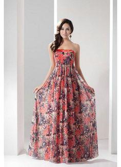 Strapless Pattern Long Chiffon Evening Dresses