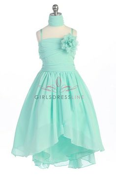 Mint Chiffon Asymmetrical Flower Girl Dress G3410-MT for megan