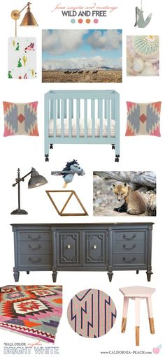 Wild and Free || Nursery Baby Room Style Board || on California Peach || Arizona, Coyote, Wolf, Southwest, Southwestern, Boho, Bohemian, grey, pink, orange, blue, cactus, horse, rabbit, vintage, rustic, nursery, baby room, style board, california peach, (Mix Boys Style)