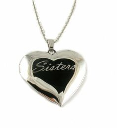 """Sisters Heart Locket Pendant Necklace, 18"""" Picture Yours Unique. $25.94. 18"""" Chain. Elegant handwriting engraving. Rhodium plated Pendant. Locket Pendant holds 2 pictures. Free Red Jewelry Box"""