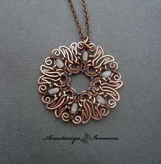 pendant with pink quartz and agate by nastya-iv83.deviantart.com on @DeviantArt