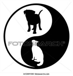 Yin Yang Dog Cat View Large Illustration