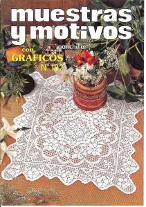 Muestras y Motivos Ganchillo Con Graficos No 102   Beautiful bags, bikinis, doilies and centerpieces. Some filet crochet.