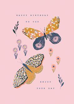 Leading Illustration & Publishing Agency based in London, New York & Marbella. Happy Birthday Messages, Happy Birthday Greetings, Birthday Images, Guache, Happy B Day, Cute Illustration, Cute Art, Floral, Prints
