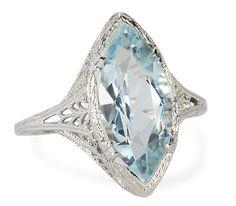 Royal Kiss: Aquamarine Filigree Ring - The Three Graces