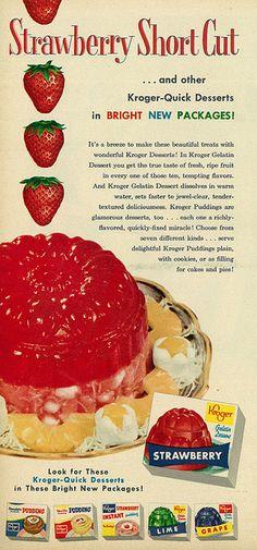 """1957 Food Ad, Kroger Gelatin, """"Strawberry Short Cut"""""""