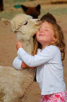 Little Girl loving a llama, Smile for me; )