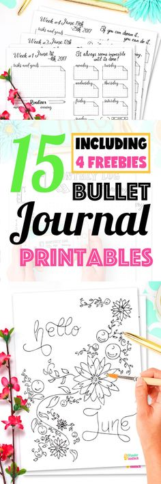 15 Pages Strong Bullet Journal Printable Kit • June 2017. Including Habit Tracker, Monthly Log and many more beautiful pages. // by Wundertastisch Design