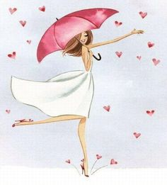 a girl under an umbrella, a rain of hearts, a woman in love, a tender and romantic girl