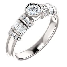 0.25 Ct Round Ring 14k White Gold