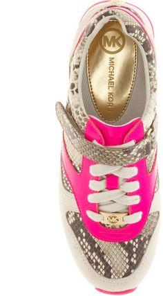 Michael Kors Neon Pink & Gold Sneakers Snake Print