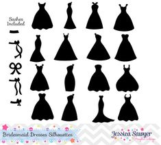 Bridesmaid Dresses Silhouettes Clipart for greeting cards, announcements, invites, and Diy Wedding gifts
