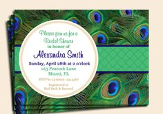 Peacock Invitation Printable - Birthday, Shower, Rehearsal Dinner, Destination Invitation on Etsy, $15.00