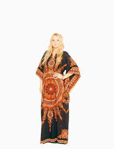 Vintage Dashiki Caftan 70s Maxi Dress by redpoppyvintageshop