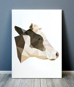 Cute Animal print. Beautiful Farm animal poster for your home and office. Lovely Cow art. Nice modern Geometry print.  SIZES: A4 (8.3 x 11) and A3