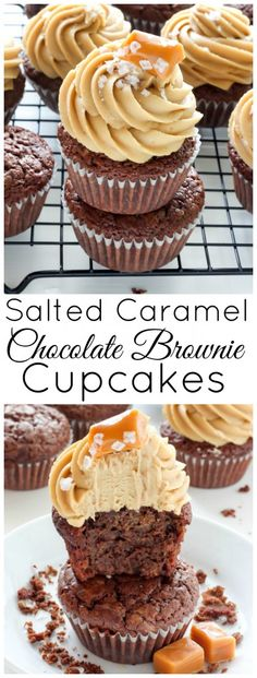 Chocolate Brownie Cupcakes with Salted Caramel Frosting and a Giveaway Dark Chocolate Brownie Cupcakes with Salted Caramel Frosting - oh man these are INCREDIBLE!Dark Chocolate Brownie Cupcakes with Salted Caramel Frosting - oh man these are INCREDIBLE! Brownie Cupcakes, Cupcake Cakes, Man Cupcakes, Brownie Frosting, Salted Caramel Frosting, Salted Caramel Chocolate, Salted Caramel Desserts, Caramel Buttercream Frosting, Salted Caramel Brownies