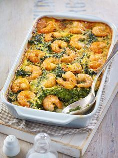 Spinach and shrimp casserole - Low Carb-Rezepte - Dinner Recipes Shrimp Recipes For Dinner, Shrimp Recipes Easy, Easy Healthy Recipes, Fish Recipes, Seafood Recipes, Juice Recipes, Drink Recipes, Meat Recipes, Chicken Recipes
