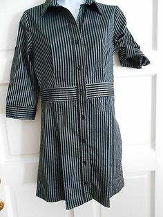 womans top long blk/white pin stripe sz s lots of love by speechless