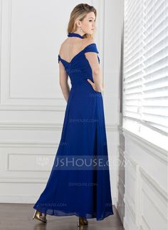 A-Line/Princess Halter Ankle-Length Ruffle Zipper Up Cap Straps Sleeveless No Royal Blue Spring Summer Fall General Plus Chiffon Evening Dress