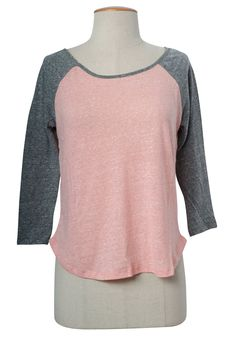 Casual Melange Scoop Neck Color Block 3/4 Sleeve Raglan Baseball Cropped T-Shirt Top