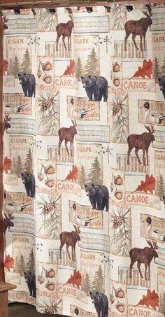 Vintage Lodge Moose and Bear 5 Piece Bath Set, cabin decor shower curtain rug
