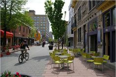 shared space, bikes, peds, and cars.