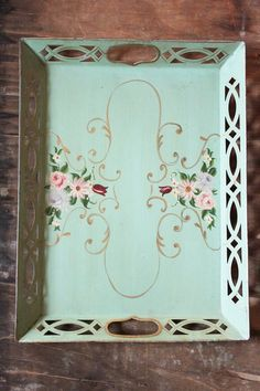 40's Hand painted Floral Tole Tea Tray in seafoam green ~ reproduce on my old tray?