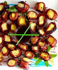 Bacon Wrapped Pineapple Appetizer, Hawaiian BBQ Sauce #ComfortFood   Feast #BACON