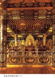 I find myself drawn to gilded Buddhas since my trip to Thailand... I shall repin them all!  Cyusonji Konjikidou ,Japan