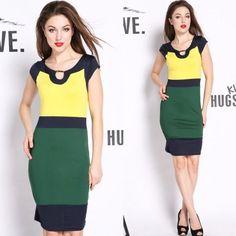 New Celeb Style Splicing Color Bandage Pencil Bodycon Clubbing Dress Gown Dress