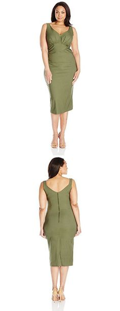 6accb3ea7302 Stop Staring! Women's Plus Size Maeve Fitted Dress, Olive Green, 18W