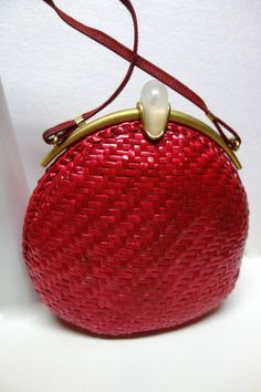 Vintage Cherry Red Woven Purse Shoulderbag by RODO