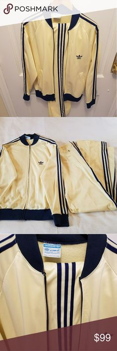 """Vintage 1980's RUN DMC ADIDAS Unisex Jumpsuit Sz M Vintage 1980's Run DMC Adidas yellow/dark blue jumpsuit, size M. Pants inseam 31"""", under arm sleeve 20"""". 55% polyester, 45% arnel triacetate. Jumpsuit is in great condition, no stains. Inside has signs of wear. Made in USA. adidas Other"""