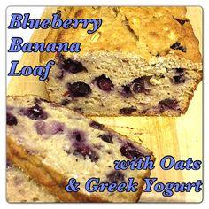 Blueberry Banana Loaf with Oats and Greek Yogurt #recipe