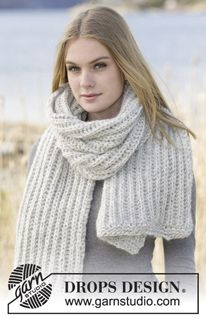 Soft Touch - Knitted DROPS scarf in English rib in thread Cloud or 2 threads Air. - Free pattern by DROPS Design Drops Design, Knitting Patterns Free, Free Knitting, Free Pattern, Chunky Scarves, Oversized Scarf, Hand Knit Scarf, Wool Scarf, Magazine Drops