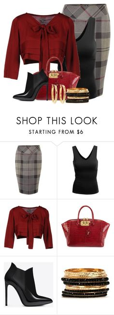 """""""Tartan Temptation"""" by everythingkaren ❤ liked on Polyvore featuring Barbour, Doublju, Hoss Intropia, VBH, Yves Saint Laurent and Brooks Brothers"""