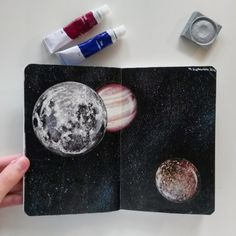 """""""Outer Space"""" // 4. September 2016 I'm still looking for a nice quote/text/lyrics to add to these pages. Please let me know if you have an idea what I could write down! PS: I did NOT draw these planets. I cut them out, glued them on dark paper and..."""