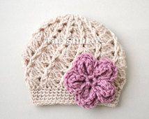 infant girl crochet flower hats - Google Search