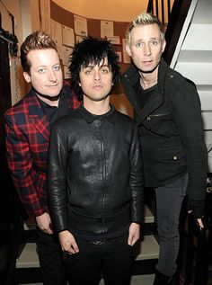 *Exclusive* Tre Cool, Billie Joe Armstrong and Mike Dirnt of Green Day backstage during the 'American Idiot' final soundcheck at St. James Theatre on March 23, 2010 in New York City.