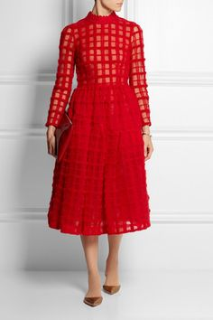 Red wool-embroidered tulle  Concealed hook and zip fastening at back  65% wool, 30% polyamide, 5% polyester; trim: 100% merino wool; petticoat: 100% polyester; lining: 100% polyamide Dry clean