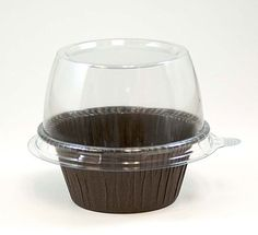 Brown Round Baking Mold with Plastic Dome Lid - Cupcake Supplies, Bakery Supplies, Hotel Supplies, Cupcake Container, Home Bakery, Coffee Shop Design, Chocolate Donuts, Baking Cups, Plastic Containers