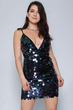 59107b6978d34 Petrol Disc Sequin Cami Dress