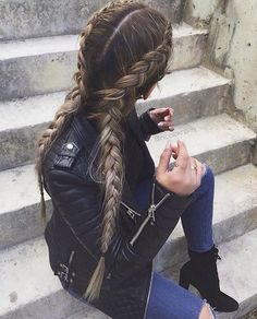 dutch braids, long hair, hairstyle, leather jacket, skinny jeans, ankle boots, fashion, street wear