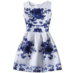 RioRiva Women Fashion Casual Summer Dress Sleeveless Print Vintage Dresses