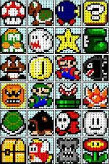 The Recipe Bunny: Super Mario Quilt, this girl has a few different blocks that would go well with the super mario 1 quilt. Perler Bead Designs, Pearler Bead Patterns, Perler Patterns, Loom Patterns, Beading Patterns, Quilt Patterns, Bracelet Patterns, Knitting Patterns, Crochet Patterns
