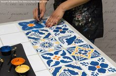 How to Stencil VIDEO Tutorial - Decorating and Upcycling a Mexican Talavera & Ceramic Tile Table with Chalk Paint and Tile Stencils
