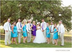 love the idea of bridesmaids being turquoise and maid of honor being purple. <3