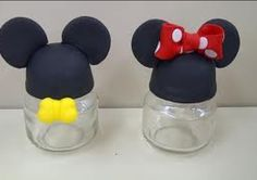 These are mickey and Minnie party favors used by baby jar food with cold porcelain on top.