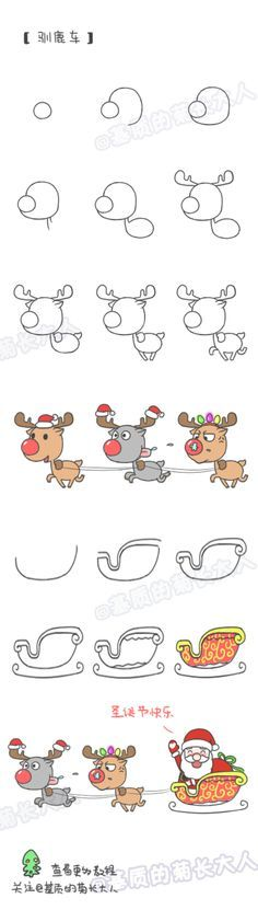How to draw Christmas reindeer car, chrysanthemum people grow up from a matrix @