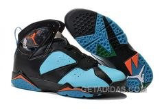 4ea481647defd4 Air Jordans 7 Black Blue Orange Shoes Top Deals ZBAxWm